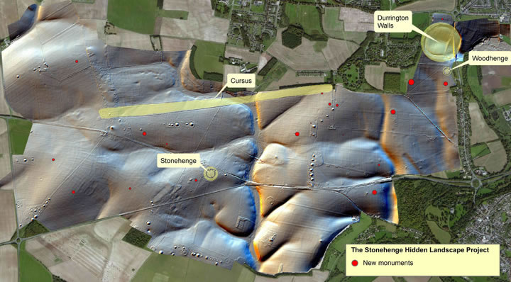 Map of the Stonehenge landscape showing the location of new features found by geophysics.